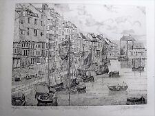 Gravure numérotée et signée - le port de Honfleur - J.C. Lalouette 1979