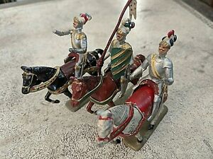 MADE IN FRANCE 3 Horsemen Lead Toy Soldiers - 3 Horses