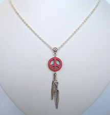 "Red Stone Peace Dreamcatcher Feathers Pendant 18"" Chain Necklace in Gift Bag"