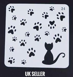 Cat & Paw Prints Design Small Thin Plastic Reusable Art Craft Stencil