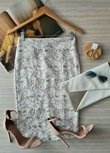 Witchery Size 12 White Lace Pencil Skirt