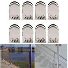 8Pcs Stainless Steel Square Clamp Holder Bracket Clip For Glass Shelf Handrails