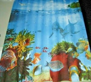 Underwater Nautical Aquarium Ocean Scene Tropical Sea-Life Fabric Shower Curtain
