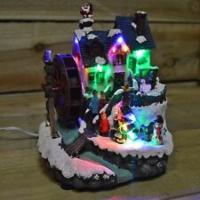 """18cm (7"""") Christmas Watermill House Scene Decoration with LEDs And Motion"""