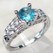 INCREDIBLE 1 CT AQUAMARINE 925 STERLING SILVER RING SIZE 5-10
