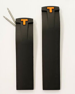 Original Tissot PRS 330 T036417A Black Rubber Watch Band Strap with Orange T
