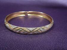 Estate HOB 10K Two Tone Basket Weave Pave & Polished Gold Bangle Bracelet