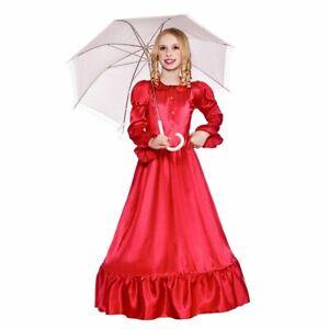 Girls Victorian Lady Dress Red Victorian Girl Tea Party Dress Posh Victorian