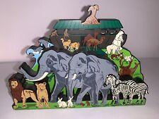 1999 Shelias Wood Wooden Noahs Ark Decor