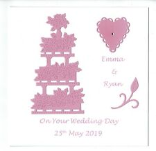 Handmade Personalised Wedding Day Card With Cake And Heart Theme