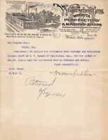 U.S. Walter Sheid Bros. Witchita Illustrated 1901 Pump Factory Invoice Ref 40198