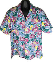 Fashion Seal Mens Size L Floral Hawaiian Aloha Shirt Made in USA