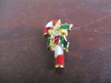 Shamrock pin gold green red white candy cane pin jewelry Christmas holiday gift