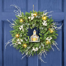 Large Lighted Church w/ Lush Berries & Frosted Twigs Christmas Door Wreath