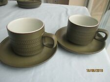 "2 x Denby ""Chevron"" Teacups & Saucers (jjh)"