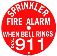 "6"" ROUND SPRINKLER FIRE ALARM BELL SIGN DIAL 911 - REFLECTIVE ALUMINUM"