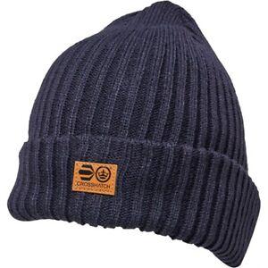 Mens Navy Blue Designer Crosshatch Knitted Fleece lined Hat Beanie UK Seller