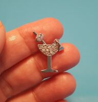 Darling Sterling Silver Paved CZ Martini Glass Charm Pendant Marked 925 Cute