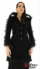 Ordo Nigra Gothic Jacke, schwarz Brokat Design mit Netzapplikationen - Größe: M
