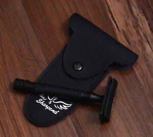 Safety Razor Double Edge steel Handle Shaving 5 Free Blades Pouch travel Kit Set