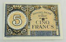 1942 MOROCCO  5 Francs  P-33 UNC