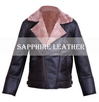 Men Aviator B4 RAF Real Ginger Shearling Sheepskin Leather Bomber Flying Jacket