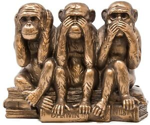 Monkey Statue Three Wise Monkeys Bronze Sculpture See Hear Speak No Evil Figure