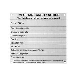 Chimney Notice/Data Plate Woodburner Logburner Multi Fuel Stove Flue