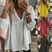 Womens Cotton V-Neck 3/4 Sleeve Solid T-Shirt Loose Ruffled Pullover Top Blouse