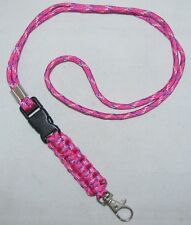 Braided Lanyard Key Fob Badge Holder Handmade Pink L01