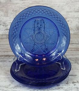 Four Beautiful Cristal D'Arquess Durand Antique Sapphire Blue Glass Salad Plates