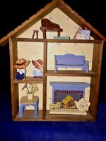 Antique Primitive AMISH COUPLE ShadowBox Cupboard Baby Grand Piano Cat Fireplace
