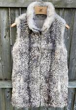 DROMe Lapin Rabbit Fur Full Zip Sleeveless Vest Coat Size Large Made In Italy