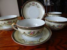 4 Noritake Marigold Pattern Cup and Saucer Sets circa 1910