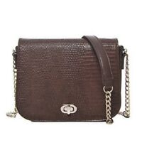 Women Small Brown Faux Leather Croc Cross Body Bag Shoulder Bag Gold Chain