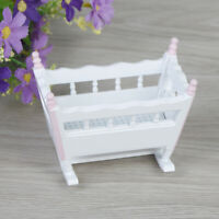 1:12 Dollhouse miniature baby cradle rocking bed bedroom furniture DD