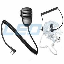 Speaker Mic + 3.5mm Earpiece + 2 Clear Earmolds for Kenwood 2-Pin Radios TK NX