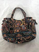 Vera Bradley Brown Floral Hand Bag With Snap Closure