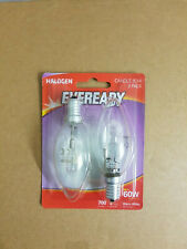 Eveready Eco Halogen 46W 60W Equivalent Candle Cap Light Bulb, Pack of 2, E14