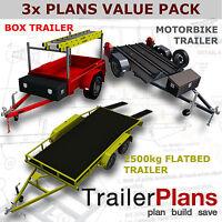 Trailer Plans - 2500kg FLATBED, BOX & MOTORBIKE TRAILER PLANS - Plans on CD-ROM