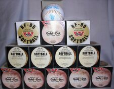 12 Vintage Worth Rf80 Poly X Solid Core Gold Dot Slow Pitch Softball (1-Dozen )