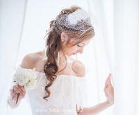 Fascinator, Schleier, Hochzeit weiss, Braut, zum Brautkleid, weiss
