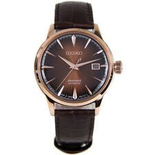 Seiko Men's Presage Automatic Rose Gold Stainless Steel Leather Watch SRPB46