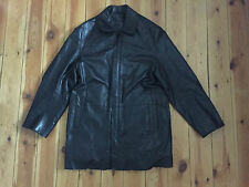 CIRO CITTERIO MENS BLACK LONG LEATHER TRENCH STYLE COAT - SMALL