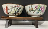 Antique Chinese Famille Rose Porcelain Bird Bowl Pair Early 20th Century