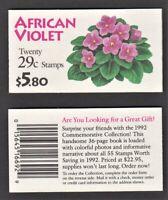 US Booklet - BK177 - Flowers - African Violets, Sc 2486, 1990, MNH