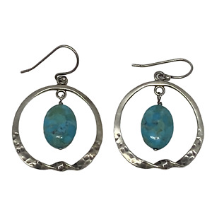 Silpada .925 Silver Turquoise Hammered Circle Drop Dangle Earrings W1437