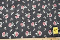 Fabric- 100% Cotton, Red Flowers on Black background 1 1/3 yd. #351