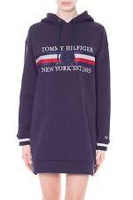 TOMMY HILFIGER - Abito donna in felpa blu con cappuccio