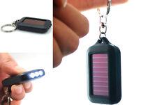 2015 Mini Portable Solar Power ZO Black 3LED Light Keychain Torch Flashlight CA